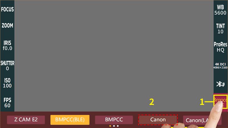 camera model options: Canon or Canon(LANC)