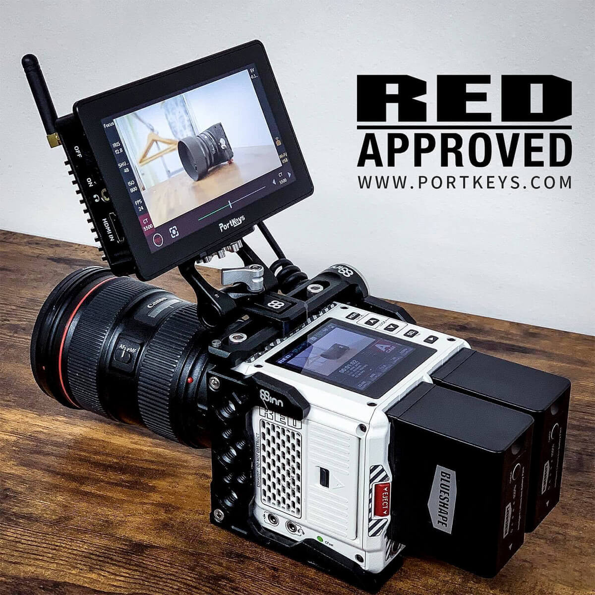 Portkeys 5.5吋高亮度觸摸屏顯示器連攝錄機控制線